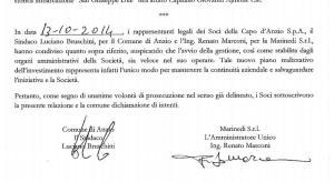 L'atto firmato dal sindaco e da Marconi